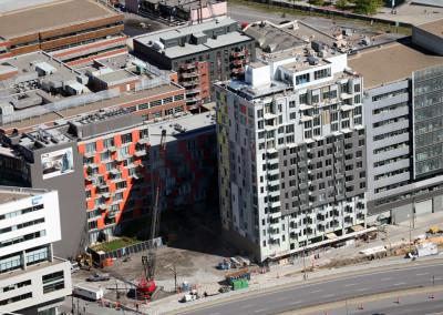 M9 Phase III, condo high-rise, 3 floors of underground parking, 15 residential floors, 110 units, Montreal.