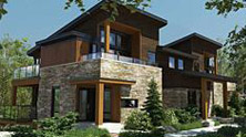 BBD Constructions Projects Côte Est contemporary crossbeams environment Bromont Developers